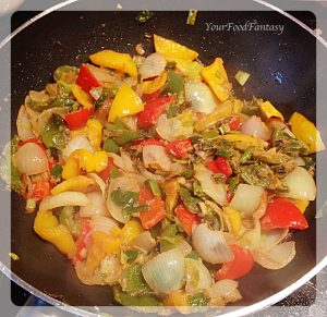 Frying Vegetables for chilli-paneer at Your Food Fantasy