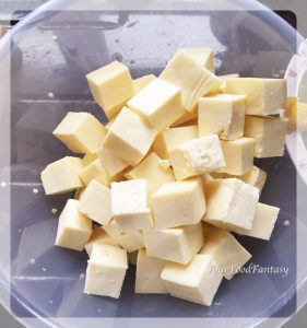 Paneer cubes for chilli paneer at your food fantasy