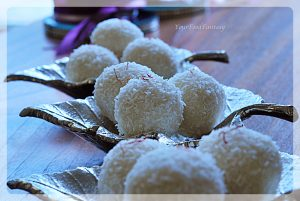 Instant coconut ladoo with desiccated coconut at yourfoodfantasy.com by meenu gupta | Like us on https://www.facebook.com/yourfoodfantasy