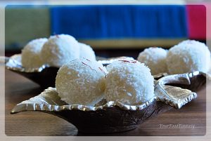 recipe of coconut ladoo with desiccated coconut at yourfoodfantasy.com