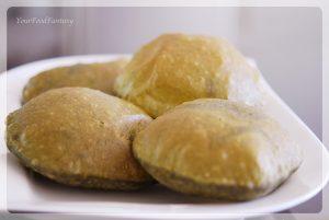 Spinach Puffed Indian bread   YourFoodFantasy.com by Meenu Gupta