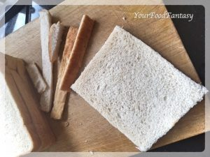 Cutting Edges of Bread for Stuffed Bread Roll   YourFoodFantasy.com