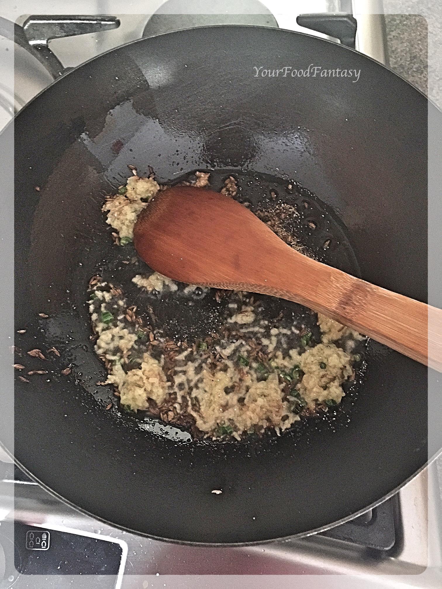 Frying Cumin seeds, Ginger Garlic Paste   Paneer Puff Recipe