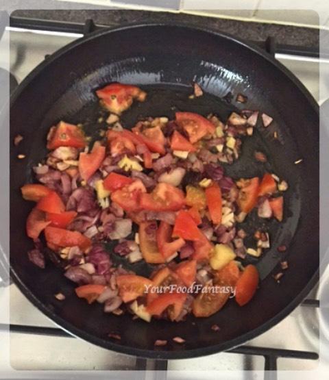 Adding Tomatoes | Prawn Capsicum Curry Recipe
