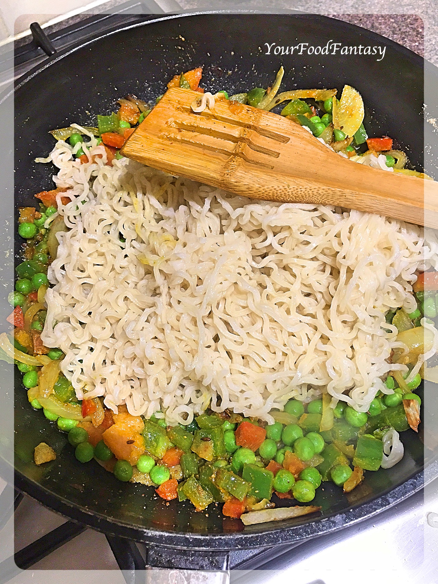 Mixing Maggi with Vegetables   Maggi Recipe   Your Food Fantasy