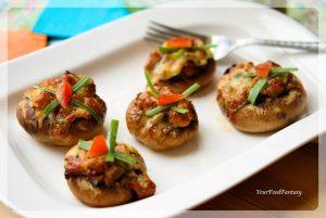 Stuffed Mushrooms - Chickpea based | YourFoodFantasy.com