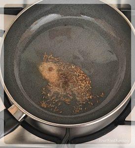 Frying Cumin Seeds for filling of Matar Kachori | Your Food Fantasy