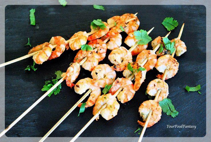 Prawn Starters Recipe | Prawn Skewers Recipe | Your Food Fantasy