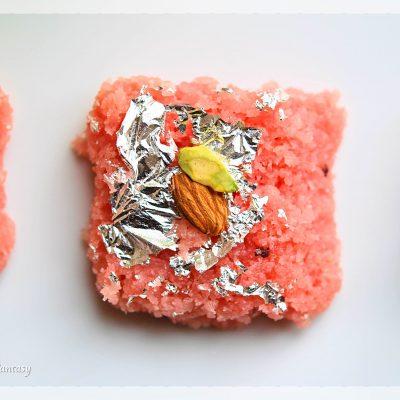 Rose Coconut Burfi Recipe | Indian Sweet Recipe | YourFoodFantasy.com by Meenu Gupta