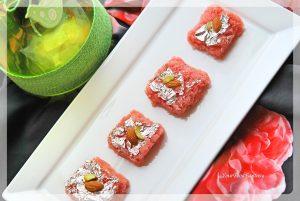 Fresh Rose Flavour Coconut Burfi Recipe| YourFoodFantasy.com