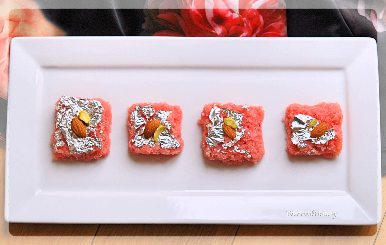 Rose Coconut Burfi Recipe | Your Food Fantasy