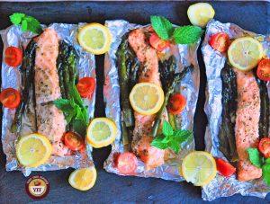 One Pot Asparagus Salmon Foil Bake   YourFoodFantasy.com