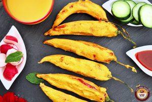 Stuffed Mirchi Bhajiya - Red Chilli Fritters Recipe