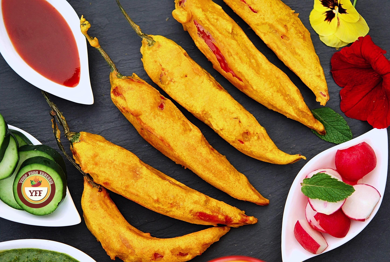 Stuffed Mirchi Pakoda - Red Chilli Fritters Recipe