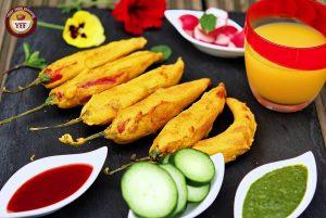 Stuffed Mirchi Pakoda | Red Chilli Fritters Recipe
