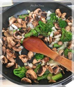Broccoli Asparagus Mushroom Being Sauteed