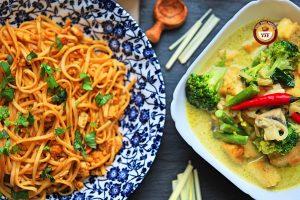 Fusion Recipes | Tandoori Egg Noodles Recipe and Green Thai Curry Recipe | YourFoodFantasy.com