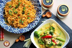 Fusion Recipes - Tandoori Egg Noodles and Green Thai Curry Recipe   YourFoodFantasy.com