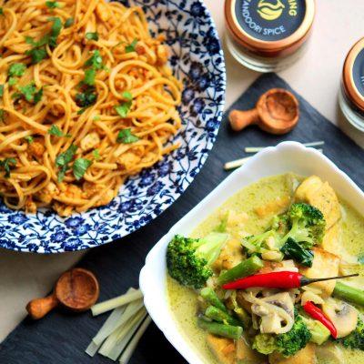 Fusion Recipes - Tandoori Egg Noodles and Green Thai Curry Recipe | YourFoodFantasy.com