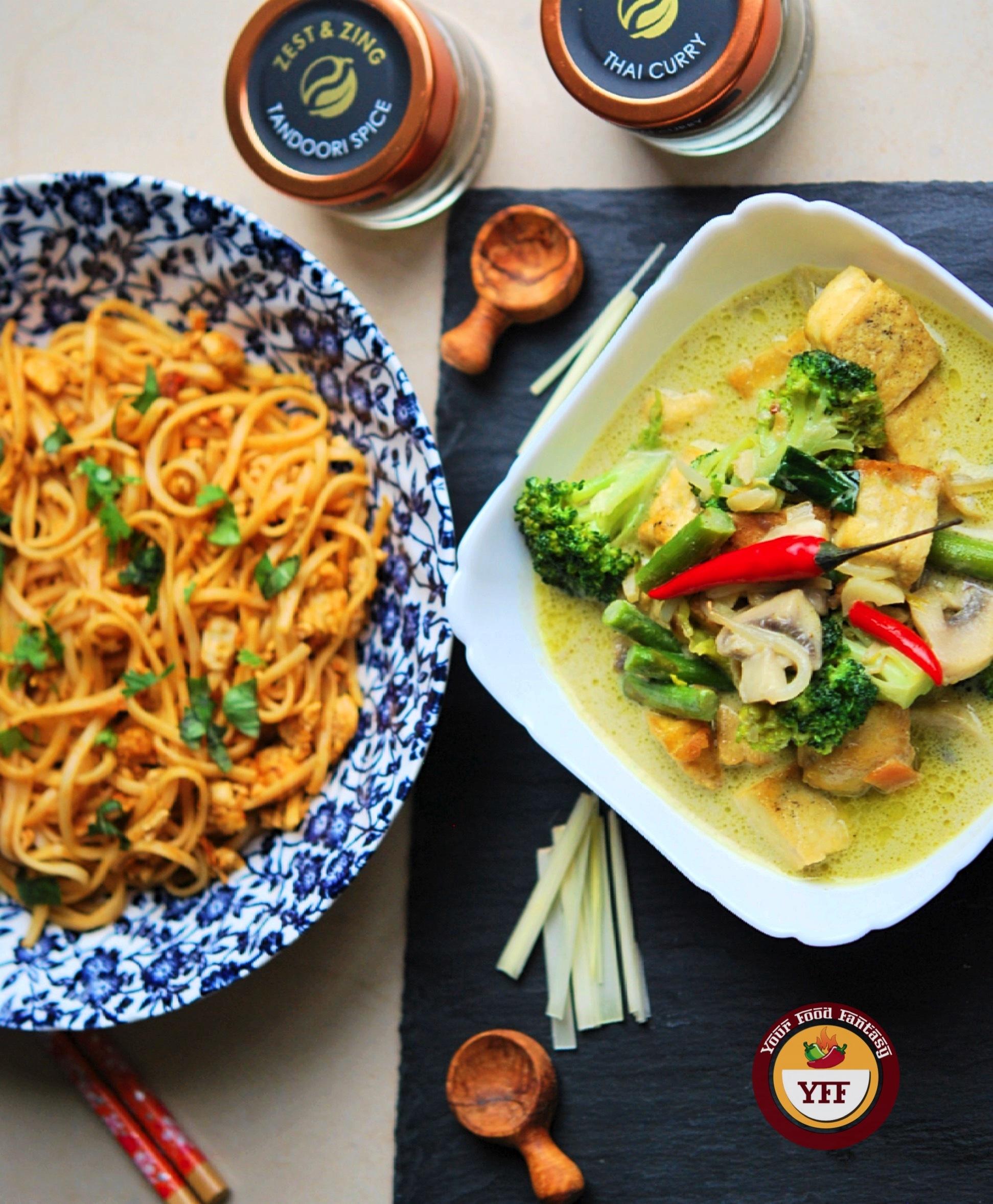 Fusion Recipes | Tandoori Egg Noodles and Green Thai Curry Recipe | YourFoodFantasy.com
