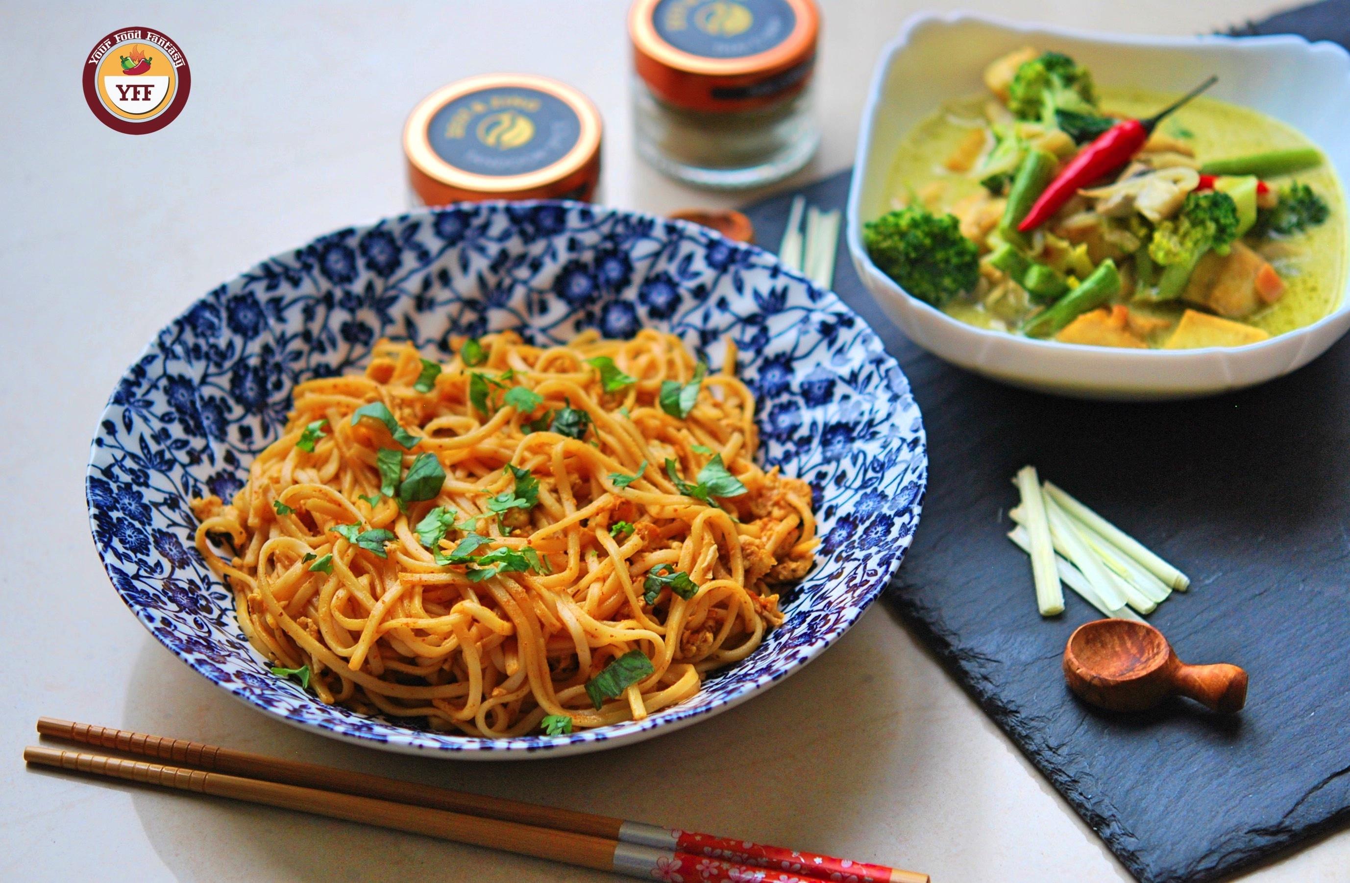 Fusion Recipe Ideas | Tandoori Egg Noodles Recipe and Green Thai Curry Recipe | YourFoodFantasy.com