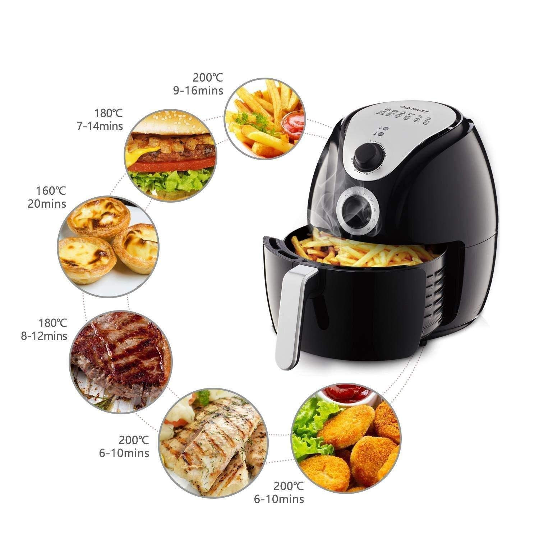 Aigostar Air Fryer settings for various food items