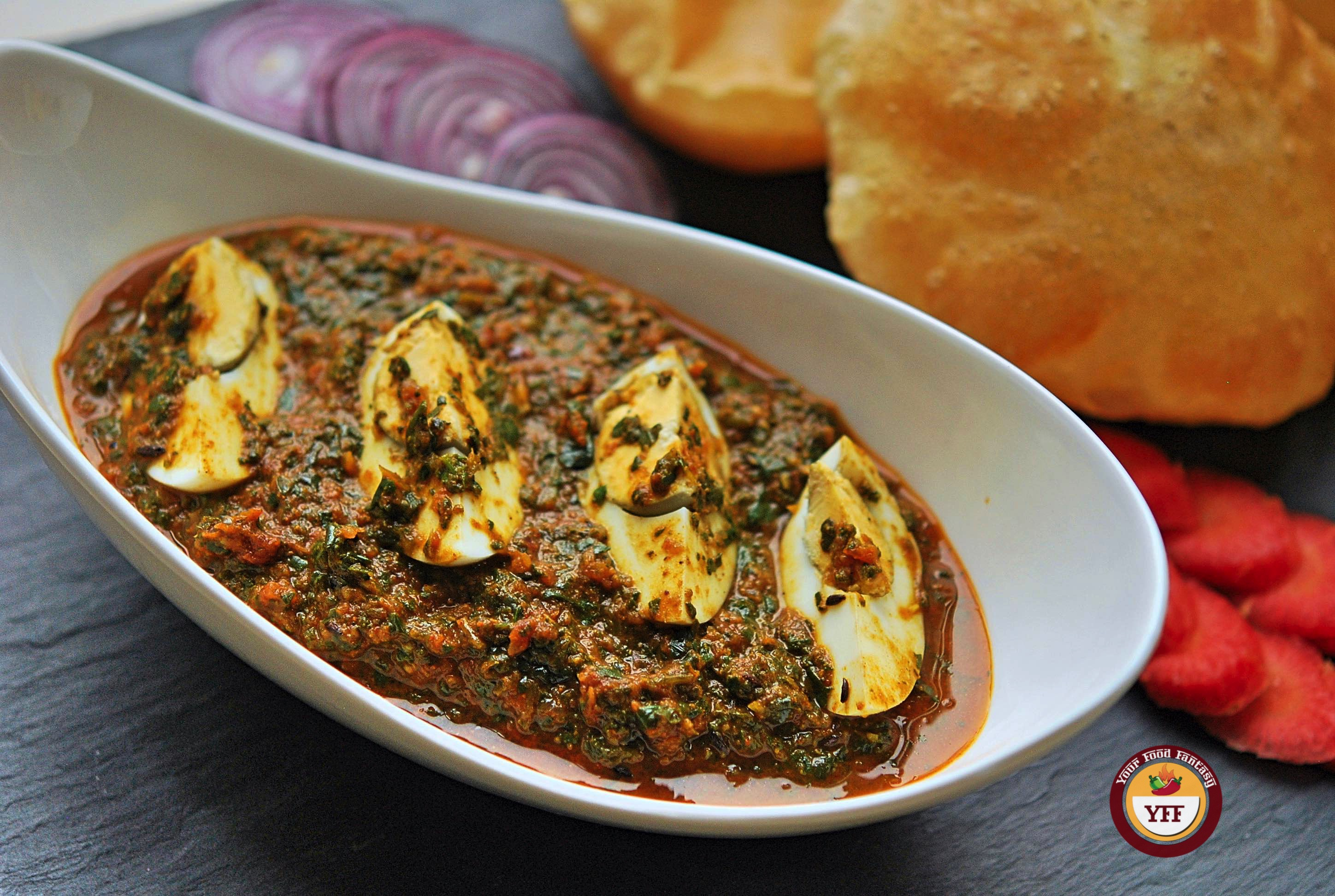 Spinach Egg Curry - Egg Curry Recipe   YourFoodFantasy.com by Meenu Gupta