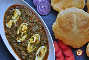 Spinach Egg Curry Recipe | YourFoodFantasy.com
