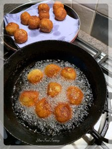 Deep frying Kofta to make Cabbage Kofta Curry - Your Food Fantasy