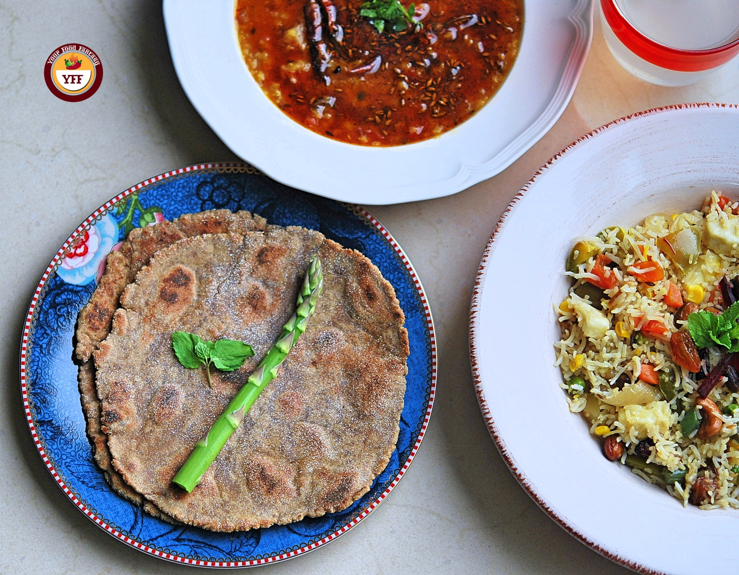 Amaranth Flour Paratha with Dal and Pulao - Your Food Fantasy
