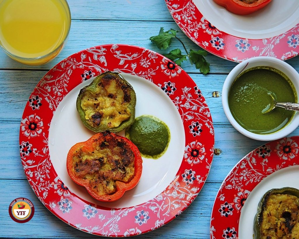 Stuffed bell peppers recipe | Tava fry style - Your Food Fantasy