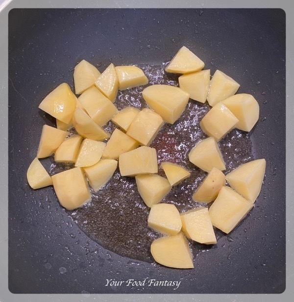 Frying Potatoes for Aloo Gosht