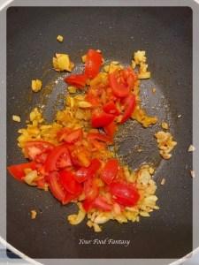 Frying tomatoes for aloo gosht