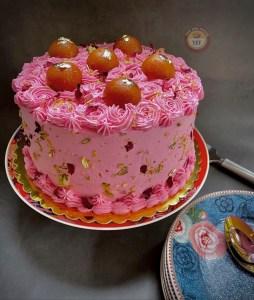 Fusion Cake Recipe - Eggless Gulab Jamun Cake