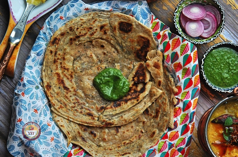 Mint Lachha Paratha - Pudina Paratha Recipe